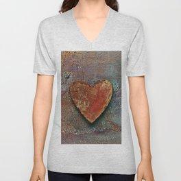 Rusty grunge love heart Unisex V-Neck