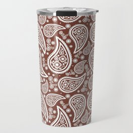 Paisley (White & Brown Pattern) Travel Mug
