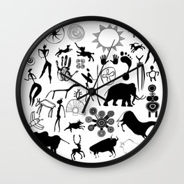 Cave paintings - primitive art Wall Clock