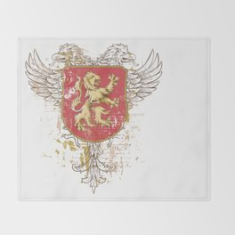 Coat of Arms Shield - Griffin Seal - Crown Lion and the Mark Throw Blanket