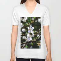 cherry blossoms V-neck T-shirts featuring Cherry blossoms by Monica Georg-Buller