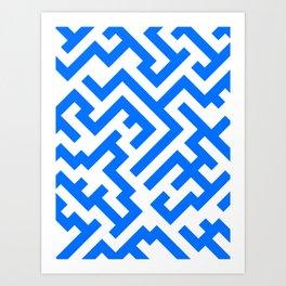 White and Brandeis Blue Diagonal Labyrinth Art Print