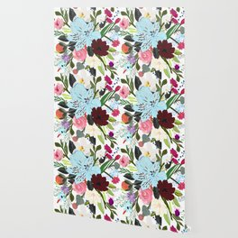 Alstroemerias, Fucisia, Roses, Vanilla, Cosmos Flower. Floral Colorful Bouquet Pattern Wallpaper