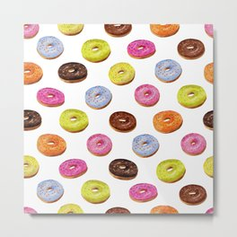 Glazed donuts seamless pattern in watercolor on white background Metal Print