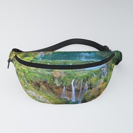 Autumn Landscape With Waterfall In Plitvice Lakes Fanny Pack