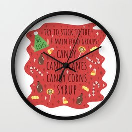 The 4 Main Food Groups Wall Clock