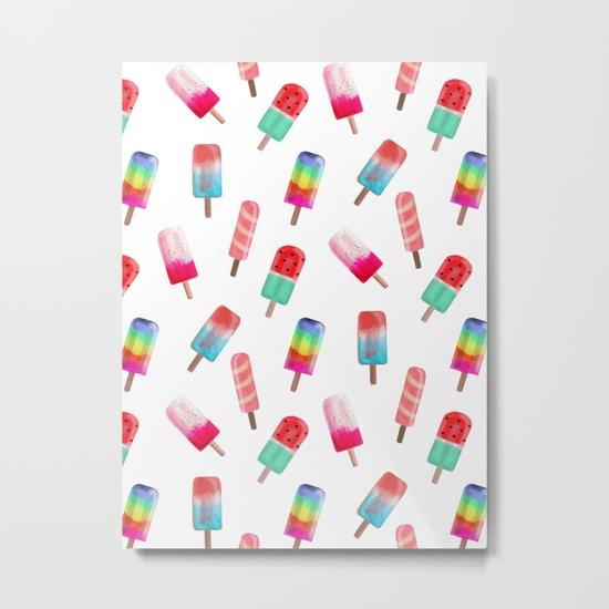 Watercolored Popsicles Metal Print