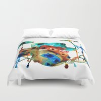 drums Duvet Covers featuring The Drums - Music Art By Sharon Cummings by Sharon Cummings