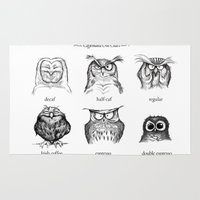 her Area & Throw Rugs featuring Caffeinated Owls by Dave Mottram