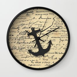 Vintage gray retro nautical anchor marine paper Wall Clock