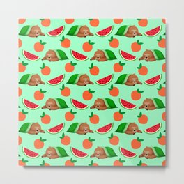 Cute funny sleeping dreaming baby sloths under a blanket, little peaches and red ripe summer tropical watermelons cartoon fantasy pastel aquamarine green pattern design Metal Print