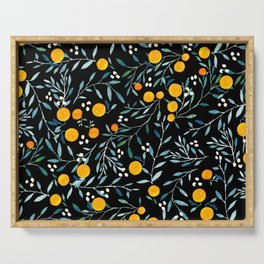 Oranges Black Serving Tray