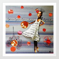 bonjour Art Prints featuring bonjour by Gina Geo