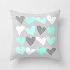 Mint white grey grunge hearts Throw Pillow