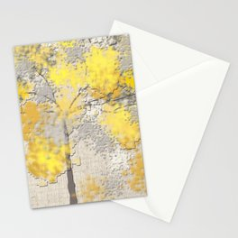 Abstract Yellow and Gray Trees Stationery Cards