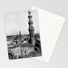 Cairo Cityscape from the Mosque of Ibn Touloun black and white photography - black and white photographs Stationery Cards