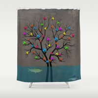 birds Shower Curtains featuring birds  by mark ashkenazi