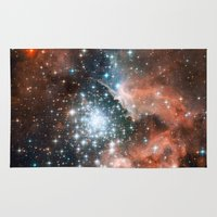 nasa Area & Throw Rugs featuring Bright nebula stars galaxy hipster geek cool space Nasa orange nebulae photograph by iGallery