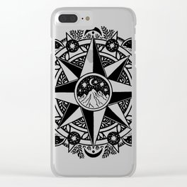 Journey to Moon Mountain | Black & Grays Clear iPhone Case