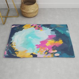 Blooms in storm- abstract pink, blue and teal  Rug