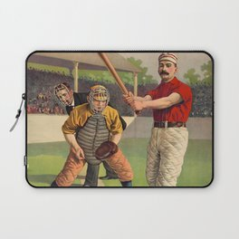 Awaiting The Pitch - Vintage Color Baseball Print - 1895 Laptop Sleeve