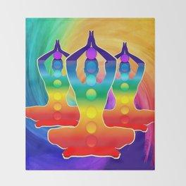 TRIPLE Om Meditation Mantra Chanting DESIGN Throw Blanket