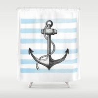 anchor Shower Curtains featuring Anchor by Sara Elan Donati