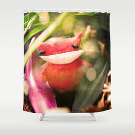 Red kitty in the Jungle Shower Curtain