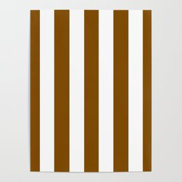 Dark bronze brown - solid color - white vertical lines pattern Poster