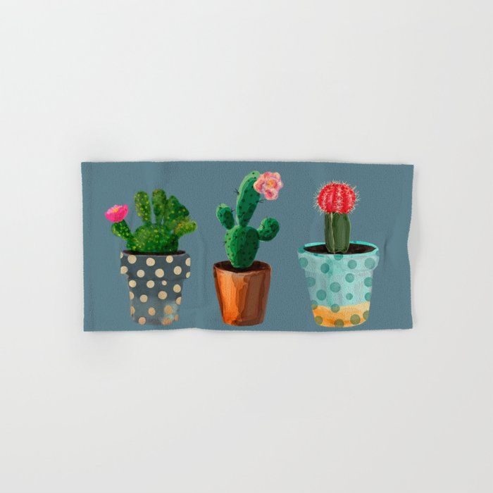 Three Cacti With Flowers On Blue Background Hand & Bath Towel