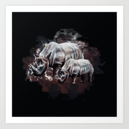 Dangerous Rhino Art Print