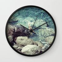 swimming Wall Clocks featuring SWIMMING by Marte Stromme