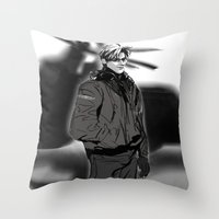 hetalia Throw Pillows featuring hetalia pilot America by Hellacrappy