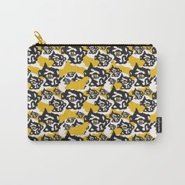 Yellow and Black Rough Abstract Dark Eyes Carry-All Pouch