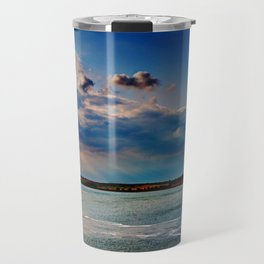 Leaving Harwich, peaceful seascape with dramatic god-rays Travel Mug