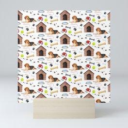 Beagle Half Drop Repeat Pattern Mini Art Print