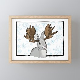 Winter MooseBunny Framed Mini Art Print