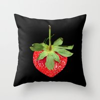 strawberry Throw Pillows featuring strawberry by Arevik Martirosyan
