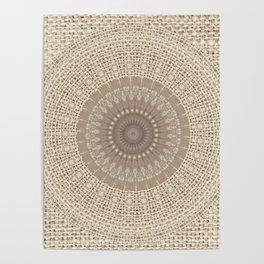 Unique Texture Taupe Burlap Mandala Design Poster