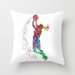 Basketball Girl Player Sports Art Print Throw Pillow