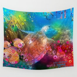 Sea Turtle In Living Color Wall Tapestry