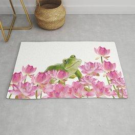 Lotos - Lotus Flower Frog Illustration Rug