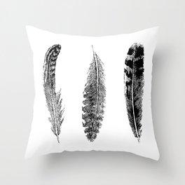 Feather Trio | Black and White Throw Pillow