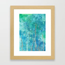 Drip Watercolor Paint Abstract with gold Framed Art Print