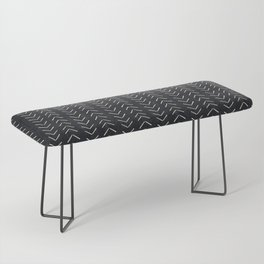 Mudcloth Big Arrows in Black and White Bench