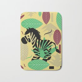 Zebra with leaves and dots Bath Mat