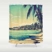 coachella Shower Curtains featuring Summer Love Vintage Beach by RexLambo