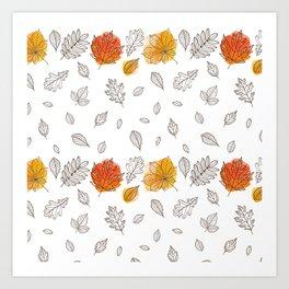 Fall orange gold hand drawn black white leaves Art Print