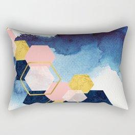 Geometric pattern abstract digital art, gold navy & blush pink Rectangular Pillow