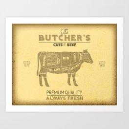 Vintage Butcher Shop Cuts of Beef Cow Diagram Art Print